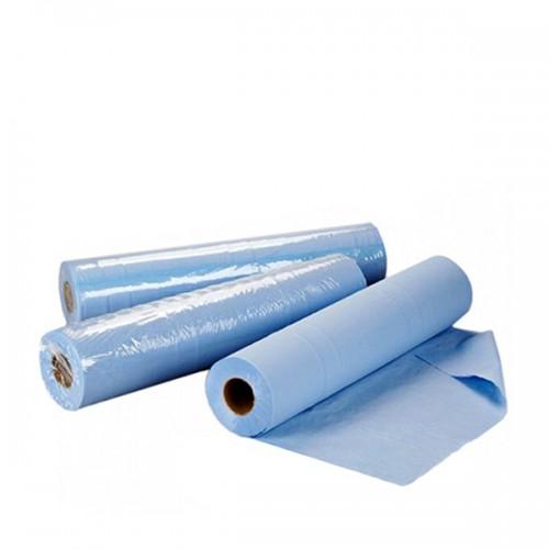 Еднократни чаршафи от нетъкан текстил - сини, ролка 50 м. размер 60 см или 70 см