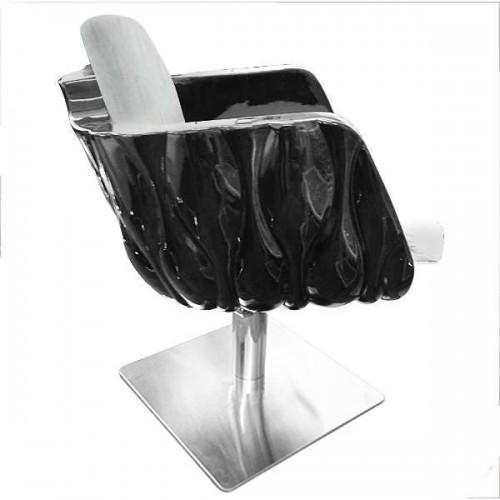 Стилен фризьорски стол в бяло и черно – Модел Перла