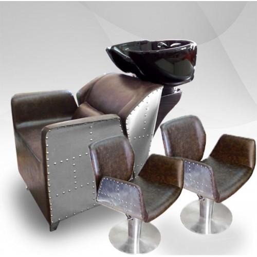 Фризьорски комплект Измивна колона и 2 фризьорски стола AVIATOR II