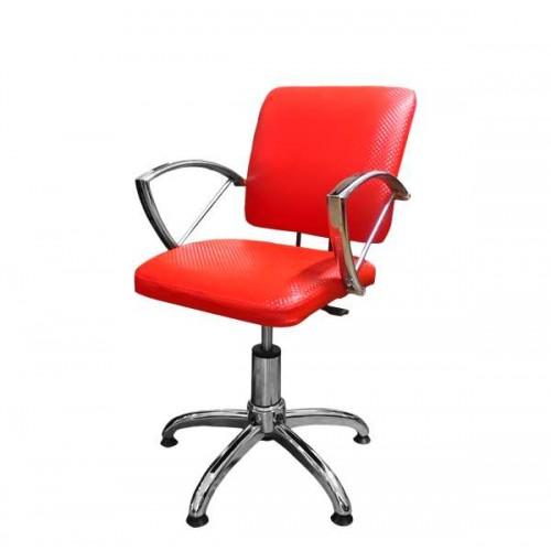 Фризьорски стол в ярък червен цвят