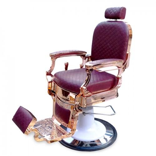 Бръснарски стол в бордо и розово злато IM221