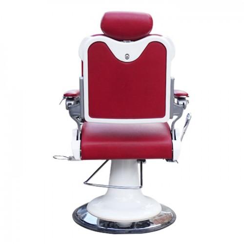 Бръснарски стол в червено и бяло IM235