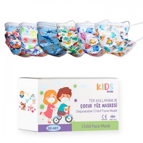 Еднократни детски медицински маски с различен десен/черен цвят - 50 броя