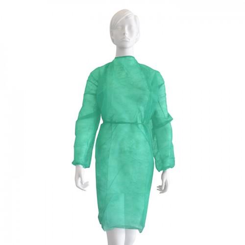 Дълга медицинска престилка от нетъкан текстил Softcare, Зелена