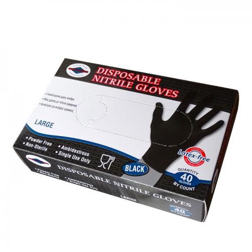 Черни еднократни ръкавици от нитрил, 40 броя