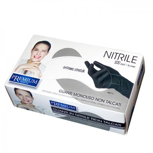Premium черни еднократни ръкавици от нитрил, 100 броя