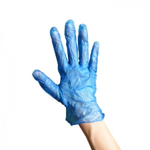 Еднократни ръкавици от винил сини L размер по 100 броя