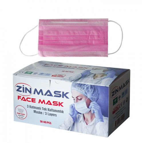 Трислойни маски за еднократна употреба Zin mask, 50 броя