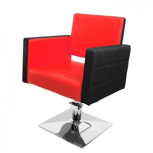 Стилен фризьорски стол в черно и червено модел PA08F0BR