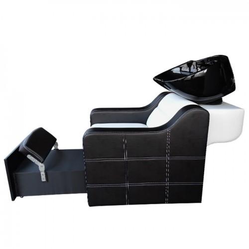 2 в 1 измивна колона и педикюрен стол - модел 810 плюс - черно-бяла