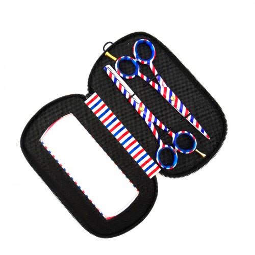 Комплект фризьорски ножици с червено-син дизайн