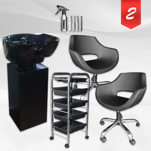 Фризьорски комплект с 1 или два стола - Black