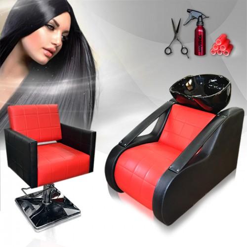 Фризьорски комплект с измивна колона и стол за подстригване Red & Black